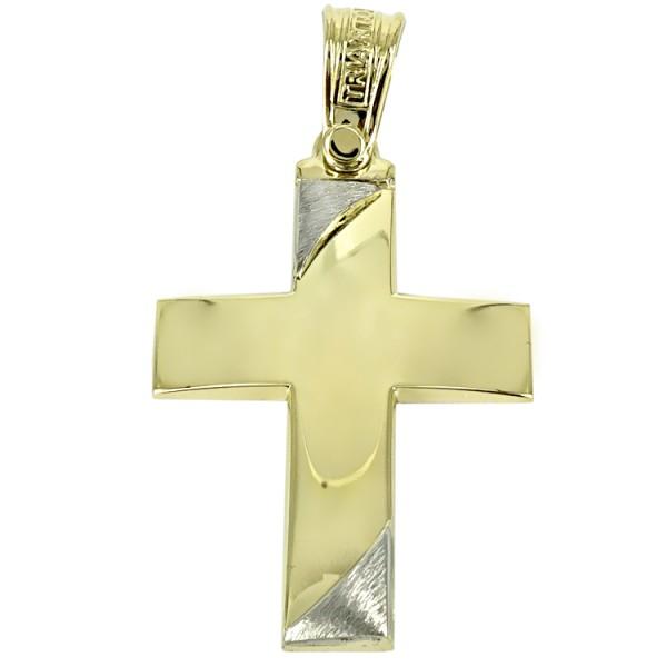 Σταυρός 14Κ Κίτρινος Χρυσός με Λευκόχρυσο ΤΡΙΑΝΤΟΣ Ανδρικός ST1436 ΣΤΑΥΡΟΥΣ Κοσμημα - gougoudis.gr